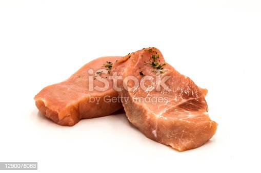 Fresh pork deus mignonettes on a white background