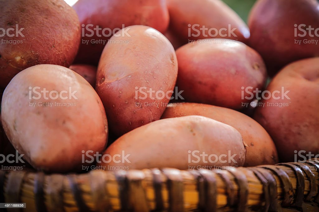 Fresh potatoes in rustic wicker basket stock photo