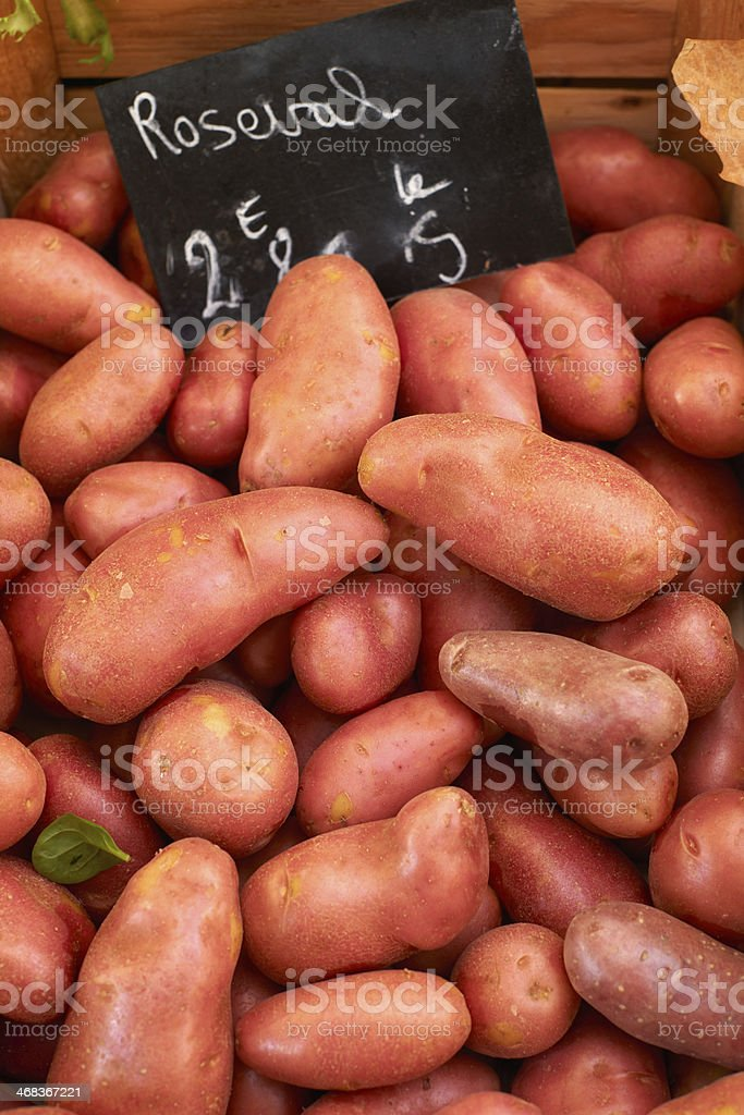 Fresh potatoes on market royalty-free stock photo