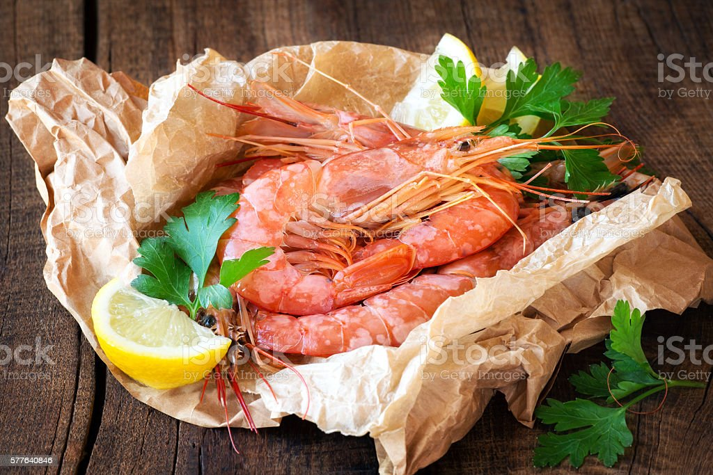 Fresh prawns stock photo