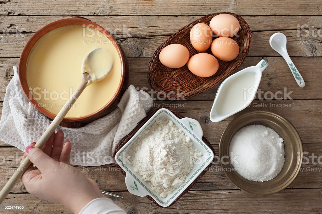 Fresh Prepared Custard Cream stock photo