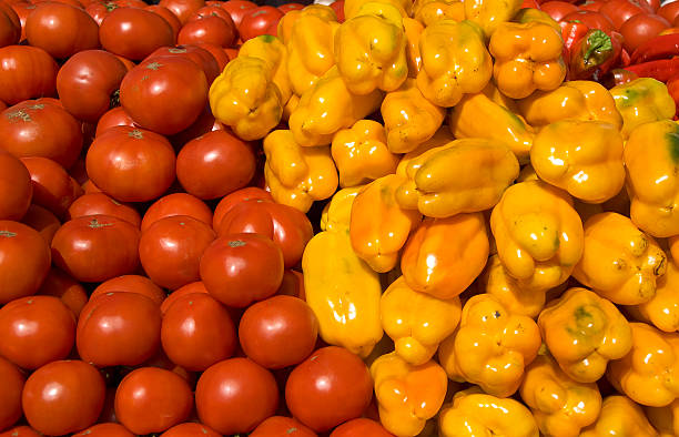 Fresh Produce in a Farmers Market stock photo