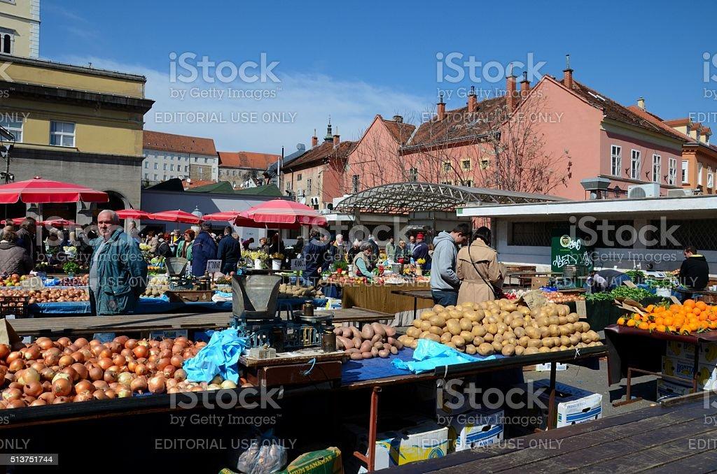 Fresh produce vegetables and fruit street market Zagreb Croatia stock photo