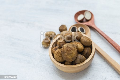 Fresh Puffball mushroom in round wooden bowl on white table background, Barometer Earthstars