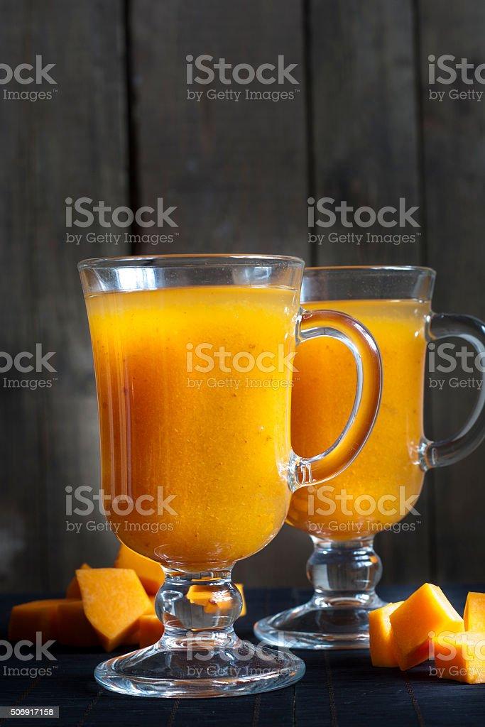 Fresh pumpkin juice royalty-free stock photo