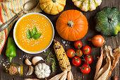 Fresh pumpkin soup and vegetables