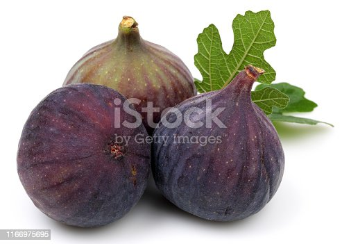 878725126 istock photo Fresh purple fig fruit and slice isolated on white 1166975695