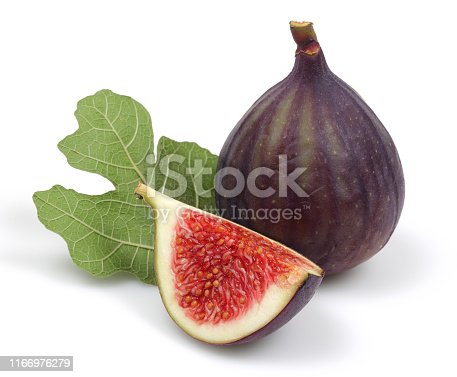 878725126 istock photo Fresh purple fig fruit and slice with leaf isolated 1166976279