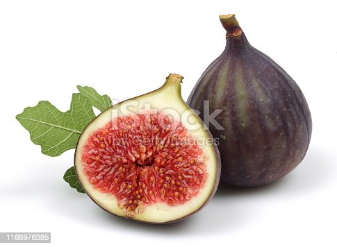 878725126 istock photo Fresh purple fig fruit and slice with leaf isolated 1166976385