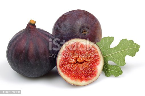 878725126 istock photo Fresh purple fig fruit and slice with leaf isolated 1166976390