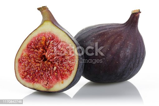 878725126 istock photo Fresh purple fig fruits isolated on white 1170842746