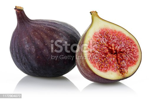 878725126 istock photo Fresh purple fig fruits isolated on white 1172904072