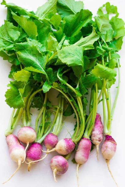 frisches lila rettich grünen marmor tischplatte - radieschen salat stock-fotos und bilder