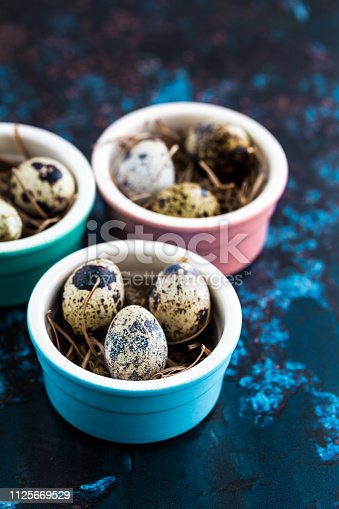 Close up macro color image depicting an arrangement of fresh quail eggs inside colorful ramekins resting on a bed of straw. Room for copy space.