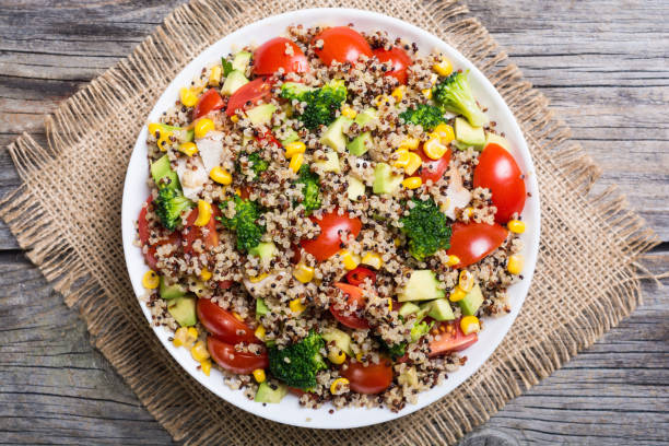 fresh quinoa salad - quinoa stock photos and pictures