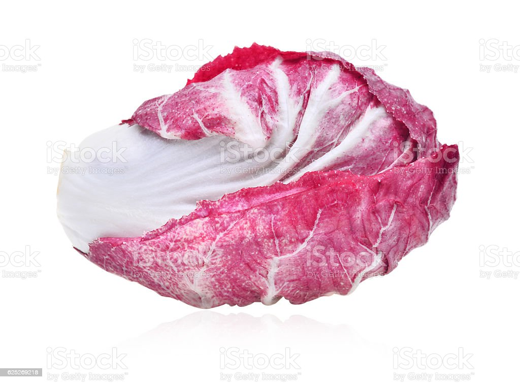fresh radicchio (red salad) isolated on white background stock photo