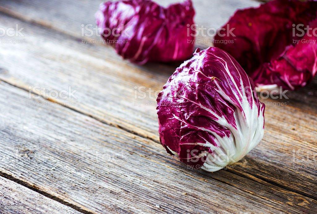 Fresh Radicchio salad on  wooden background stock photo