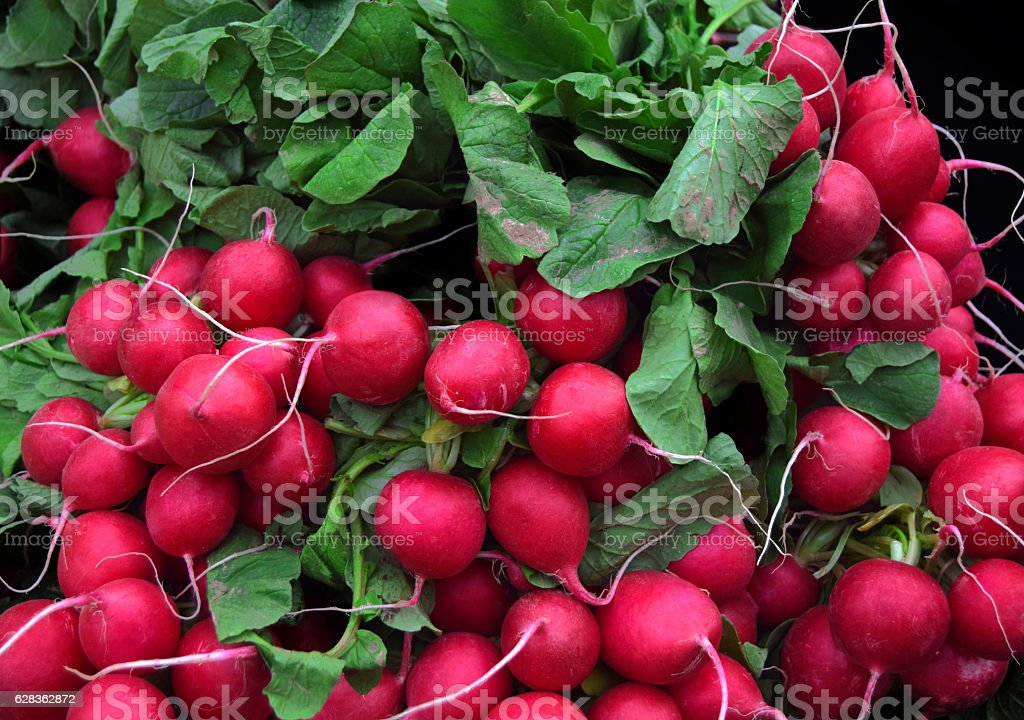 Fresh radishes in market of  Birmingham stock photo