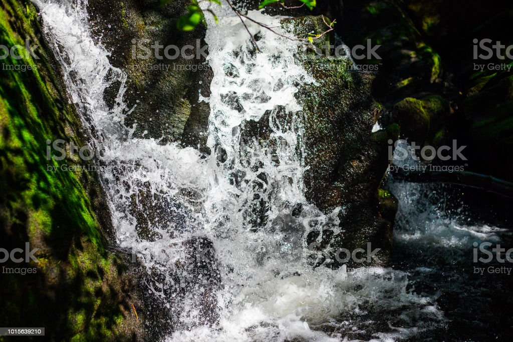 Fresh rain waterfall stock photo