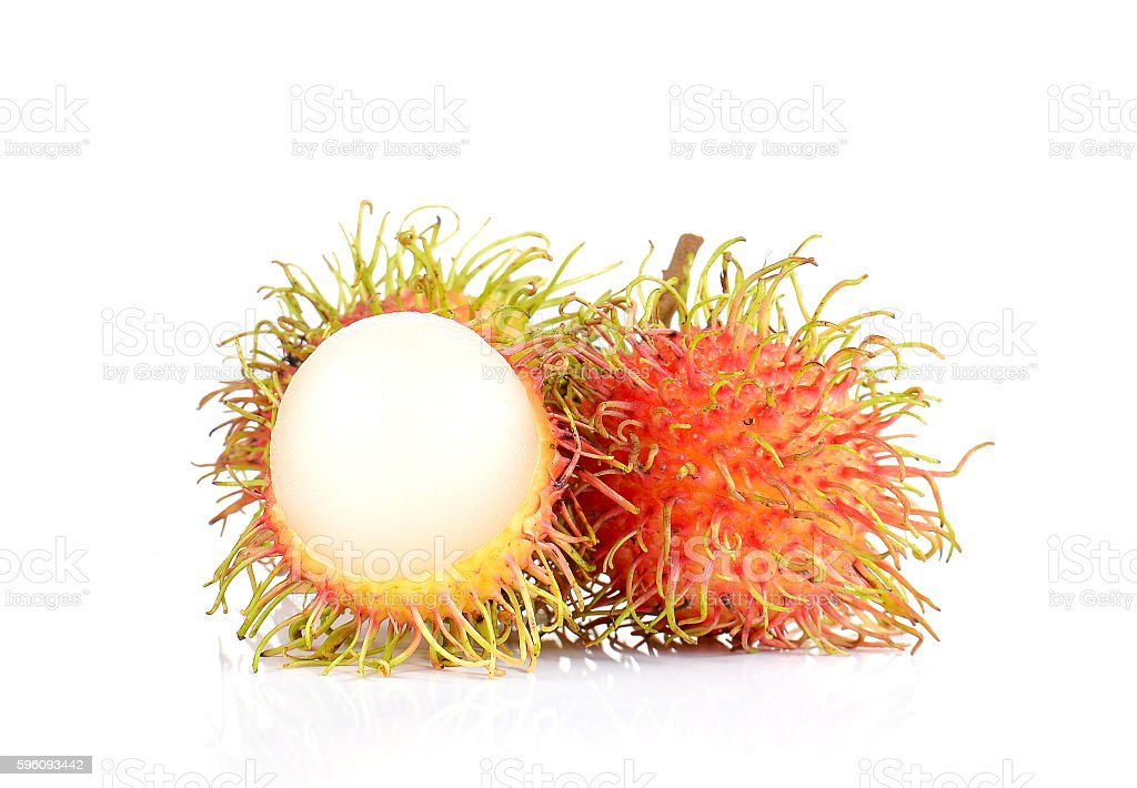 Fresh rambutan on white background. royalty-free stock photo