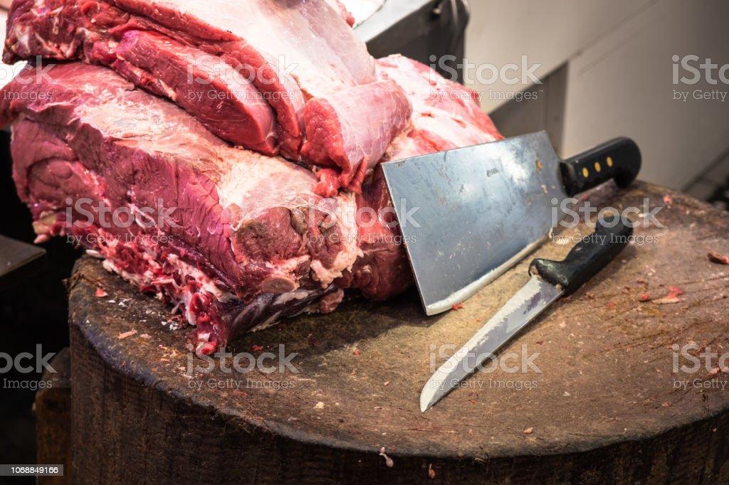 Fresh raw beef on the cutting board stock photo