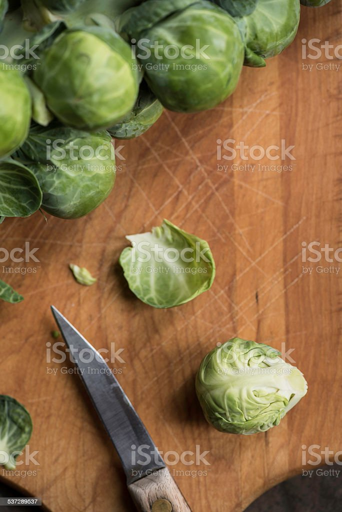 Fresh Raw Brussel Sprouts royalty-free stock photo
