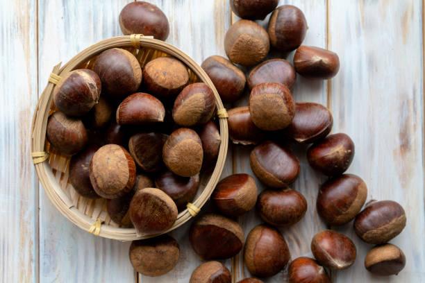 fresh raw chestnut stock photo
