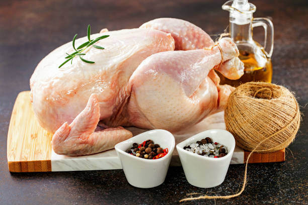 Frisches rohes Huhn und Gewürze – Foto