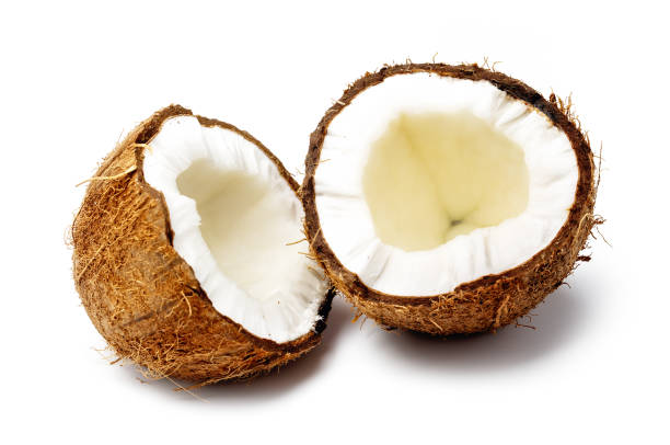 Fresh Raw Coconut cut in half stock photo