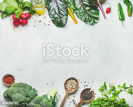 istock Fresh raw greens, vegetables and grains, copy space 839086162