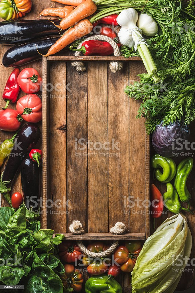 Fresh raw ingredients for healthy cooking or salad making with stock photo