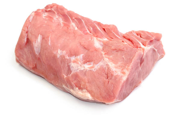 fresh Raw juicy meat isolated on white backdrop stock photo