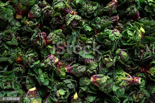 istock Fresh Raw Kalettes green vegetables on black background 915384838