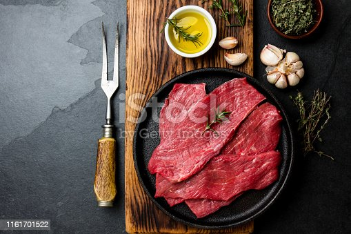 Fresh raw meat beef steaks. Beef tenderloin in cast iron pan on wooden board, spices, herbs, oil on slate gray background. Food background with copy space.