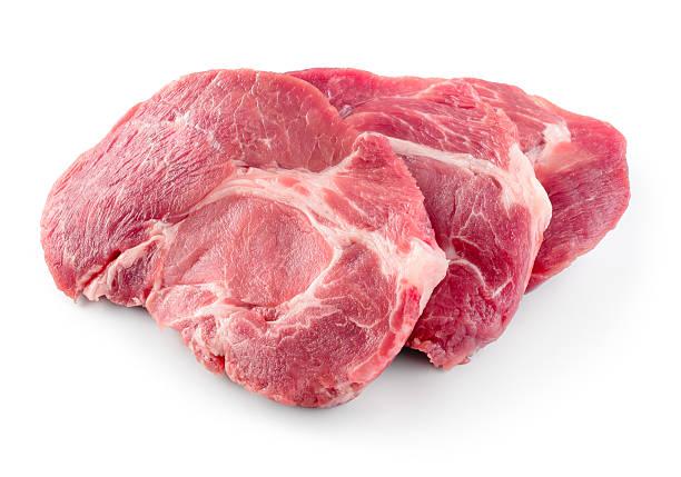 frischem rohem fleisch isoliert auf weißer hintergrund. - weißes lamm stock-fotos und bilder