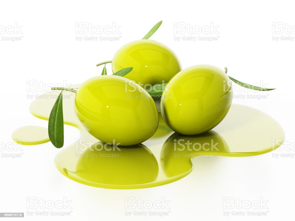 Fresh raw olives with green leaves in spilled olive oil stock photo