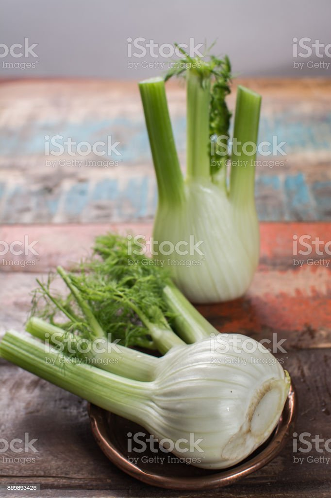Fresh raw organic Florence fennel bulbs, close up stock photo