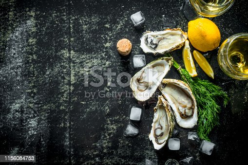 Fresh raw oysters with ice cubes, dill, lemon and wine. On dark rustic background
