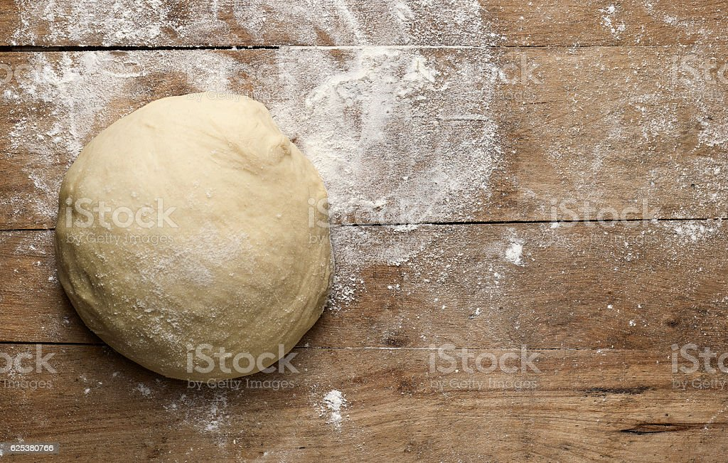 fresh raw pizza dogh stock photo
