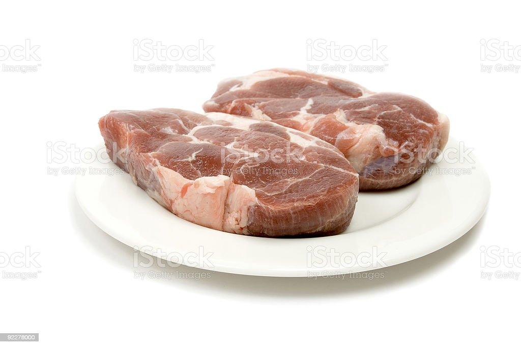 Fresh raw pork isolated on white stock photo