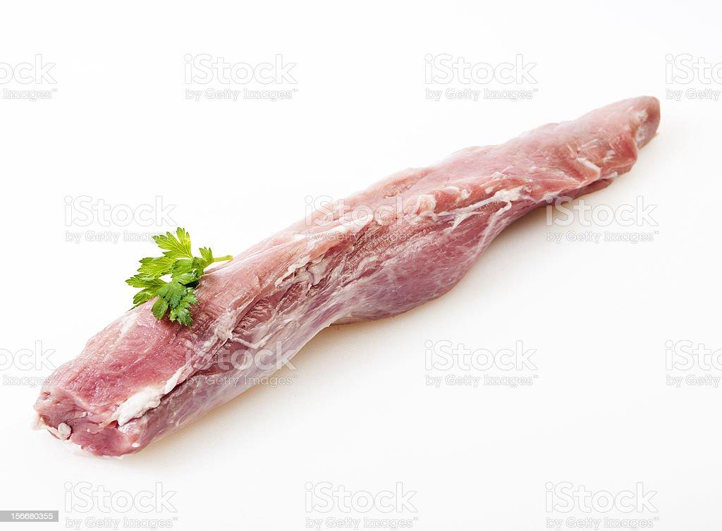 Fresh raw pork on white background stock photo