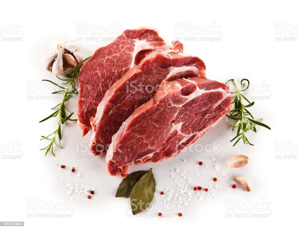Fresh raw pork on white background stock photo