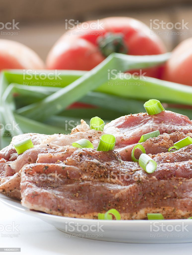 Fresh raw pork with, vegetables. royalty-free stock photo