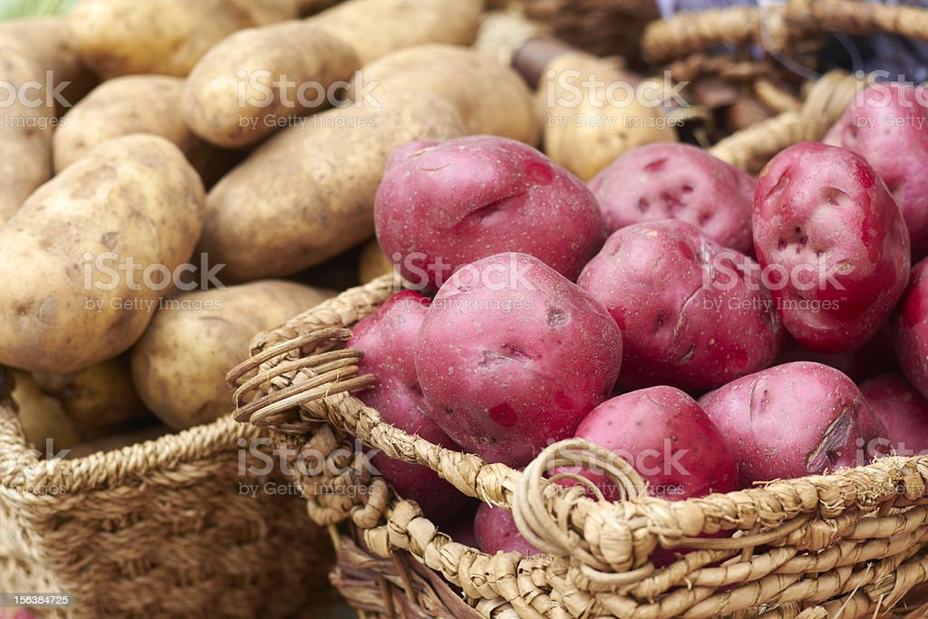 Fresh Raw Potatoes For Sale At the Market stock photo