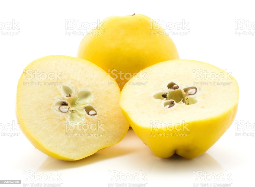 Fresh raw quince isolated on white stock photo