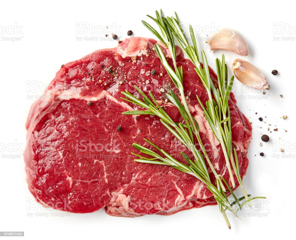fresh raw rib eye steak stock photo