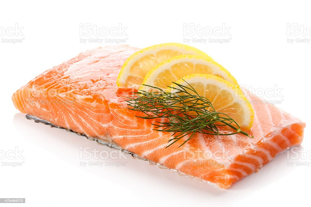 Fresh raw salmon fillet on white background stock photo
