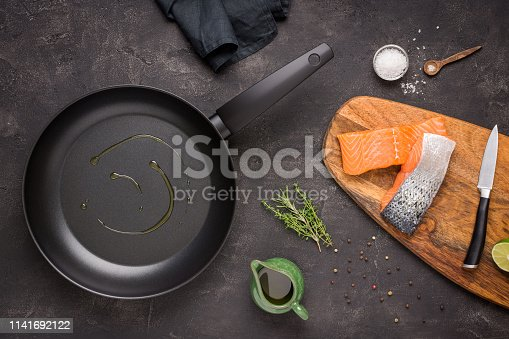 Fresh Raw Salmon Fish Preparation with Cooking Ingredients