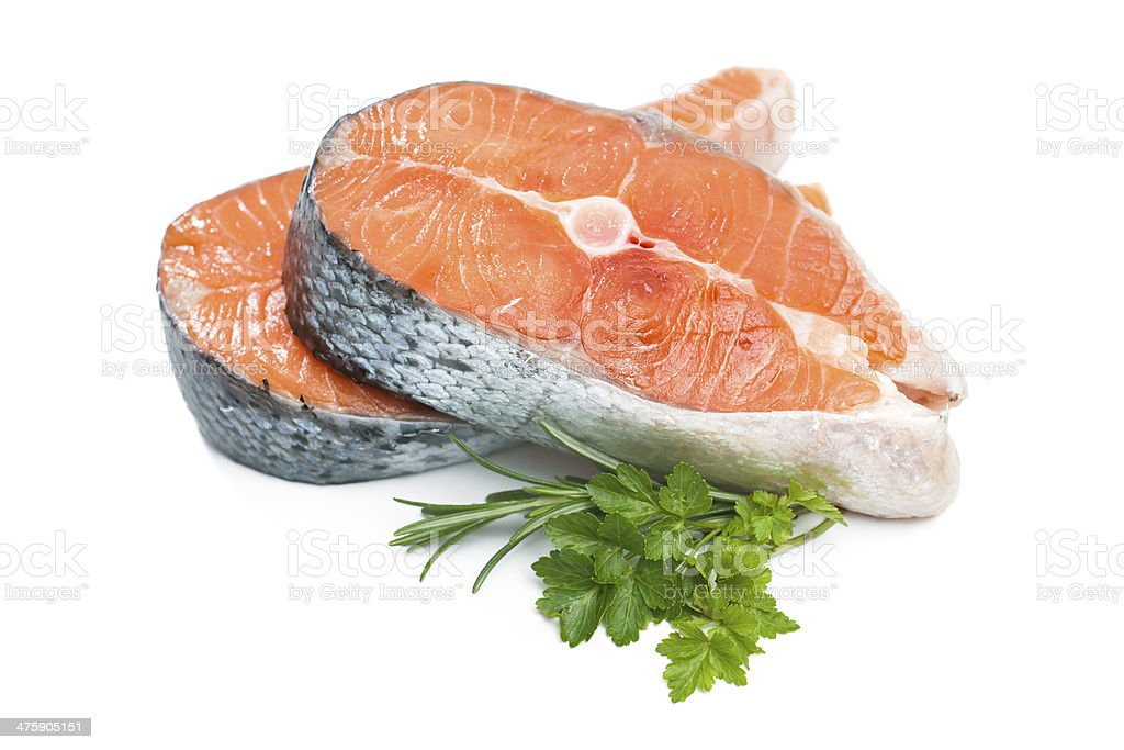 Fresh raw salmon fish steak stock photo