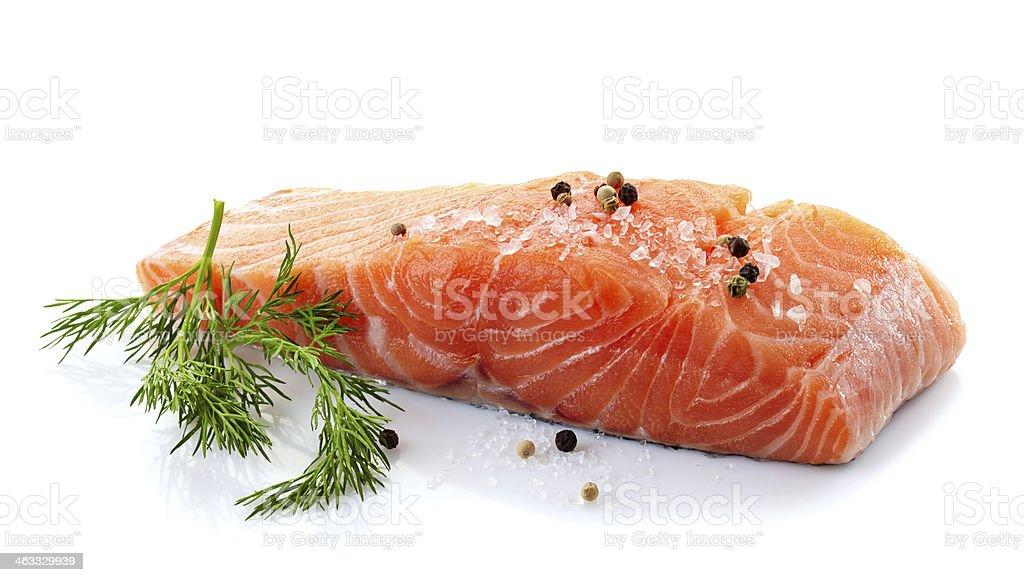 fresh raw salmon stock photo